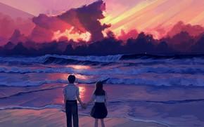 Картинка море, небо, любовь, закат, школьники