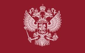 Картинка герб, россия, красный фон