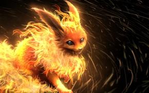 Картинка аниме, арт, зверёк, покемон, pokemon, flareon