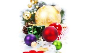 Картинка зима, белый, фон, игрушки, Новый год