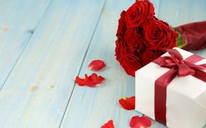 Картинка цветы, подарок, розы, букет, лепестки, красные, red, love, flowers, romantic, valentine's day, petals, roses, gift …
