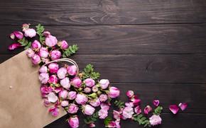 Картинка цветы, розы, букет, розовые, бутоны, wood, pink, flowers, beautiful, roses