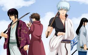 Картинка парни, самураи, Gintama, Гинтама