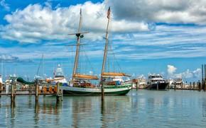 Картинка Key West, причалы, Флорида, побережье, яхты, море, солнце, небо, облака, США