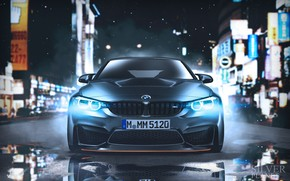 Картинка Авто, Ночь, BMW, Машина, Фары, Car, Автомобиль, Art, Передок, BMW M4, Vehicles, Transport, Transport & …