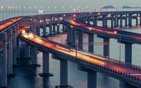 Картинка city, China, light, twilight, river, bridge, sunset, water, Dalian