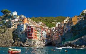 Картинка море, скала, берег, дома, лодки, Италия, городок, Italy, Riomaggiore, Риомаджоре, Cinque Terre, Чинкве-Терре, Лигурия, Liguria