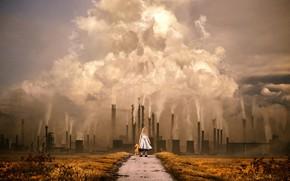 Картинка Череп, Дым, Girl, Девочка, Загрязнение, Арт, Art, Наследие, Legacy, Smoke, Завод, Concept Art, Фабрика, Factory, …