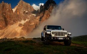Картинка белый, внедорожник, пикап, Gladiator, 4x4, Jeep, Rubicon, 2019, на фоне гор