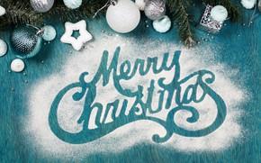 Картинка праздник, надпись, игрушки, рождество, декор, сахарная пудра
