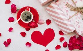 Картинка любовь, цветы, подарок, сердце, розы, лепестки, красные, red, love, heart, flowers, romantic, coffee cup, gift, ...