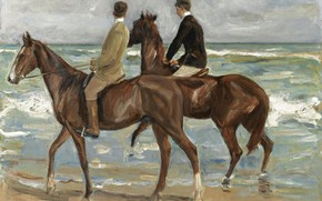 Картинка море, картина, лошади, Max Liebermann, Макс Либерман, Два Всадника на Пляже