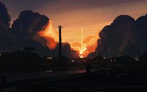 Картинка небо, огонь, дым, рисунок, дома, минимализм, ракета, запуск