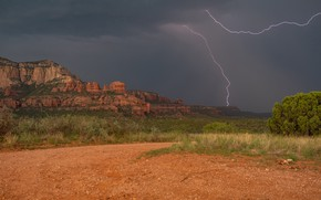 Картинка скалы, молния, долина, Аризона, Arizona, Sedona, Седона