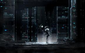 Картинка City, Здания, Арт, Рендеринг, Environments, Science Fiction, Ночь, Concept Art, Город, Eugene Golovanchuk, by Skeeva, …