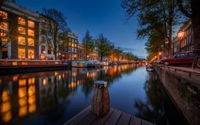 Картинка транспорт, здания, причал, канал, Amsterdam - My Home