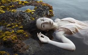Картинка взгляд, девушка, озеро