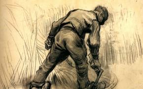 Картинка серп, Винсент ван Гог, Reaper 2, мужик