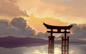 Картинка небо, вода, тории