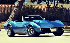 Картинка Corvette, Chevrolet, Blue, Convertible, Stingray