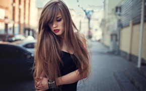 Картинка девушка, поза, улица, волосы, макияж, красотка, боке, Veronica, Dmitry Sn, Dmitry Shulgin