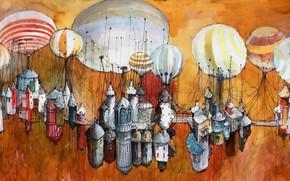 Картинка шары, рисунок, дома