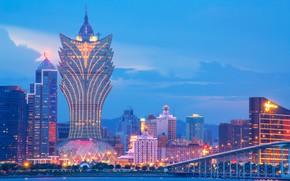 Картинка мост, пролив, China, здания, дома, Китай, ночной город, небоскрёб, Макао, Macau, Grand Lisboa Hotel
