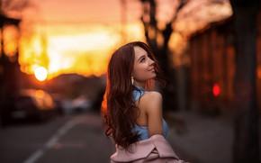Картинка девушка, закат, поза, улица, волосы, плечо, боке, Vitaly Skitaev, Скитаев Виталий