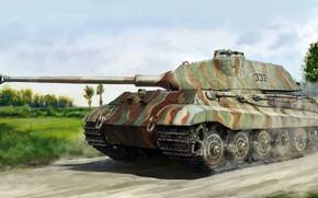 Картинка porsche, вермахт, Panzerkampfwagen VI Ausf. B, Тигр II, немецкий тяжёлый танк