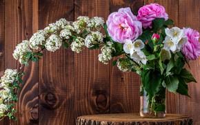 Картинка листья, капли, цветы, ветки, фон, доски, пень, розы, букет, банка, деревянный, розовые, белые, цветение, цветущие, …