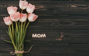 Картинка цветы, букет, тюльпаны, розовые, happy, wood, pink, flowers, tulips, spring, mom, mother's day