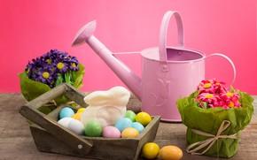 Картинка цветы, фон, праздник, яйца, пасха