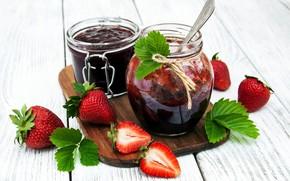 Обои ягоды, клубника, баночки, десерт, wood, джем, разделочная доска