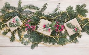 Картинка праздник, новый год, подарки, бусы, wood, декор, ветки ёлки
