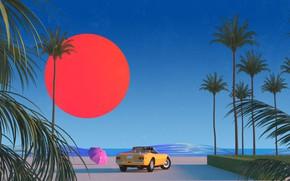 Картинка Солнце, Авто, Музыка, Машина, Стиль, Пальмы, 80s, Style, Illustration, 80's, Synth, Retrowave, Synthwave, New Retro ...