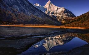 Картинка лес, свет, горы, отражение, синева, берег, склоны, вершины, водоем, снежные