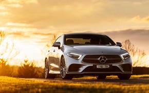Картинка закат, Mercedes-Benz, CLS, седан, вид спереди, 2018, 450, 4MATIC, AMG Line