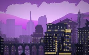 Картинка Минимализм, Город, Стиль, Здания, City, Архитектура, Art, 80s, Пиксели, Style, Illustration, 80's, Synth, Retrowave, Synthwave, …