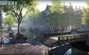 Картинка мост, город, брусчатка, канал, Battlefield V
