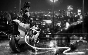 Картинка Девушка, Байк, Мотоцикл, Fantasy, Art, Bike, Moto, Characters, Хлыст, Cyber, Science Fiction, Черно - белое, …