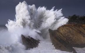 Картинка море, волны, шторм, волна, туристы