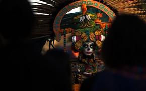 Картинка девушка, карнавал, тёмный фон, день мёртвых, Dia de los Muertos
