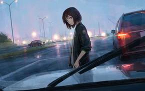 Картинка дорога, машина, девушка, дождь, shionnn.k