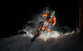 Картинка снег, гонка, мотоцикл