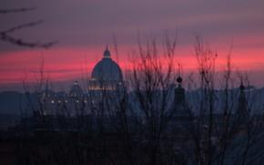 Картинка вечер, Рим, Италия, зарево, Ватикан, Собор Святого Петра