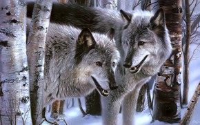 Картинка зима, лес, взгляд, снег, деревья, картина, арт, пара, волки, живопись, морды, Collin Bogle