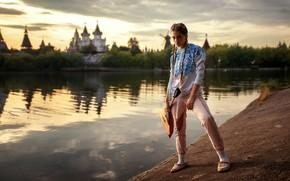 Картинка вода, модель, Девушка, балалайка, Ксения Кокорева, Ksenia Kokoreva, Yuriy Lyamin