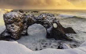 Картинка зима, скалы, берег, Iceland, Snaefellsnesog Hnappadalssysla