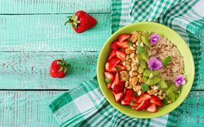 Картинка ягоды, фрукты, мюсли, Завтрак