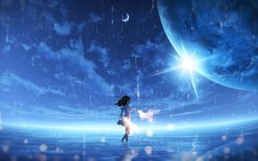 Картинка небо, вода, дождь, планета, фэнтези, девочка, бенгальские огни